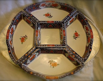 5 porcelain dishes:  tapas tray, party platter, candy dishes, fruit dish, bead organizer