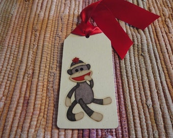 Sock Monkey tags  Set of 6