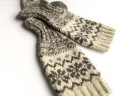 High Socks EU size 38-40 - Knee Hand Knitted Patterned Fair Isle Socks - 100% Natural Organic Undyed Wool - Warm Christmas Gift