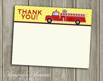 """INSTANT DOWNLOAD - Printable 5.5""""x4.25"""" flat Thank You Cards - Fire Truck Party - Memorable Moments Studio"""