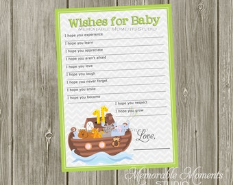INSTANT DOWNLOAD - Printable Wish Lists Chevron Noah's Ark Baby Shower Collection - Memorable Moments Studio