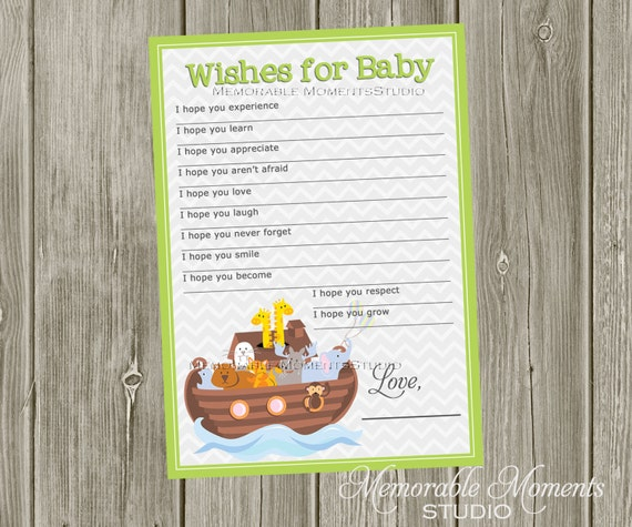 instant download printable wish lists chevron noah 39 s ark baby shower