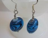 Ocean Blue Beaded Dangle Earrings