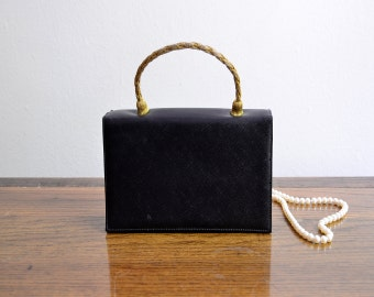 Vintage 50s Black Evening Handbag