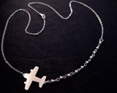 Airplane Necklace -  Silver Airplane Jewelry - Wanderlust Necklace - Travel Jewelry - Flight Attendant Gift - Plane Necklace