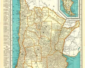 Paraguay Map Etsy - Uruguay map atlas