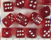 Dice Beads 8mm Czech Glass - Red  / White (12)