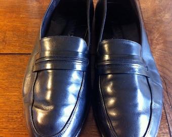 Bally Mens Vintage Loafers Black Soft Leather