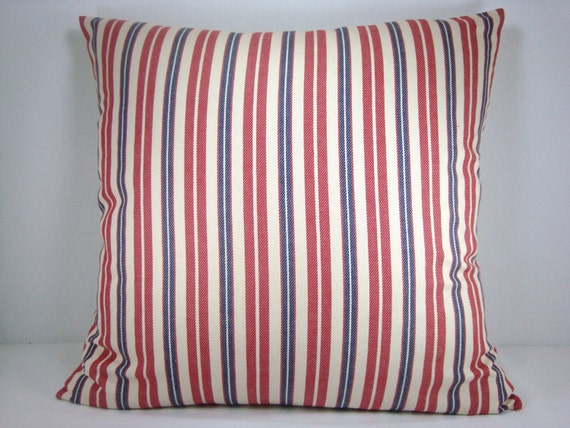 Modern Family Pillow Stripe : Items similar to Red and Blue Stripe Decorative Pillow Accent Pillow Modern Pillow 18X18 Pillow ...