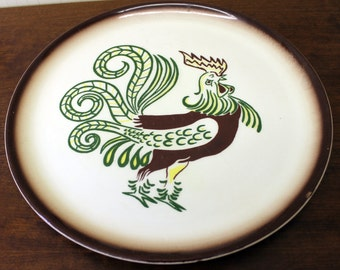 Vintage Brockware Plate with Yellow Rooster (E2908)