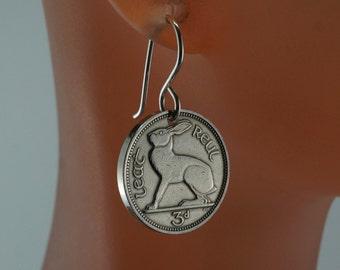 IRISH earrings. rabbit earrings. coin earrings. ireland . celtic  pence .sterling silver. No.00739