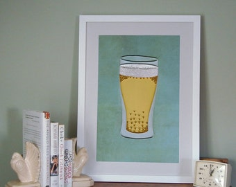 Beer Poster, Bar Art Print, Quilled Lager in a Glass, Man Cave Decor, quilling art print, Paper art print, 12x18in, Ready to ship