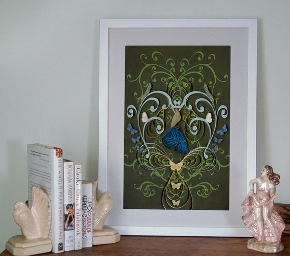 Butterfly Poster, retro, Art Nouveau style, created with quilling and cut paper, Paper art print, Ready to ship, mother's day gift