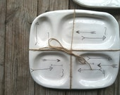 made to order* handmade functional white arrow ceramic lunch tray under 50
