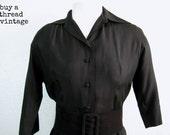 Vintage 50s Black Silk Shirtwaist Dress