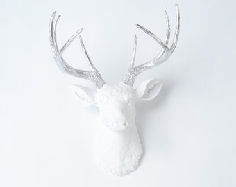 White and Silver Deer Head - Deer Head Antlers Faux Taxidermy Wall Mount D0110