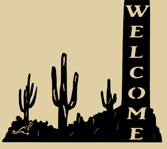 Cactus Welcome Sign,Metal Art,Southwest,Home Decor