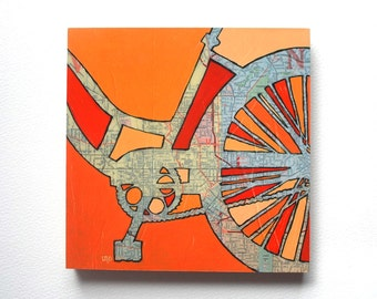 Atlanta mounted print -featuring vintage map of downtown Atlanta, Grant Park, Georgia  bicycle art mounted to wood