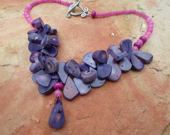 Purple Coral and Pink Jade Handmade Chocker Necklace