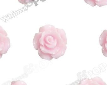 10mm - Pink Small Small Detailed Flower Rose Resin Cabochons, Rose Shaped, 10mm x 4mm (R1-079)