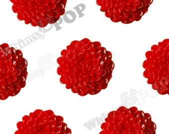 Large Red Dahlia Cabochons, Large Chrysanthemums, Zinnia Cabochons, Flower Cabochons, Flower Cabs, 24mm (R7-039)