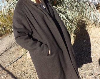 Vintage Women's Brown Wool Coat Hood Fleece trim Knee Length
