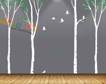 "Wall Decal, wall Stickers ,Tree Wall Decals ,Wall decals, Nursery wall decal,Children wall decals, Removable, Trees and Birds 4 trees 90""H"