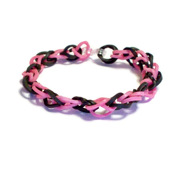 Items Similar To Black And Hot Pink Rubber Band Bracelet
