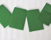CLEARANCE SALE! 6 teeny tiny envelope note sets handmade miniature square green stationery party favors weddings guest book table number