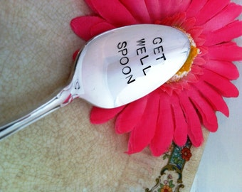 Hand Stamped Get Well Spoon Vintage Silver Plated Spoon Gift