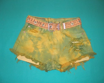 WOMENS DENIM SHORTS / small size / cut off  / dyed