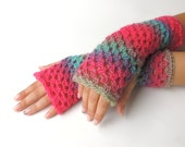 Fingerless gloves, Crochet fingerless glove,  pink Fingerless mittens, long fingerless glove, arm warmers