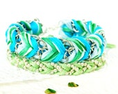 Frosted Mint Duo - Chevron Braided Modern Friendship Bracelets - Chain & Beads - Silver