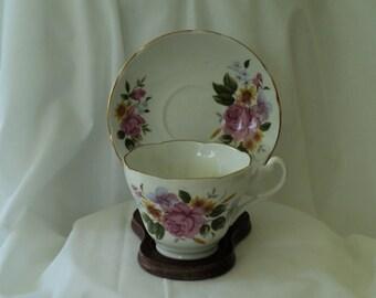 Vintage Tea Cup Pink Rose with Lavender Flowers Teacup/tea cup