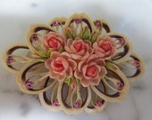 Vintage Shell Roses and Rhinestone Brooch