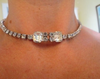 Deco Rhinestone Vintage Wedding Necklace