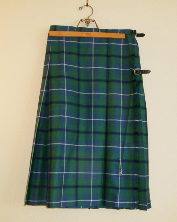 Vintage Scottish Clan Wool Tartan Plaid Kilt Skirt Green Blue