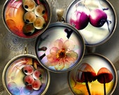 Flowers and Fruits - 20mm, 18mm, 16mm, 14mm and 12mm circles - Digital Collage Sheets CG-684 for Pendants, Earrings, Crafts