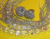 Winter ICE Crystal Statement Bib Necklace Earrings VINTAGE VOGUE Amazing estate