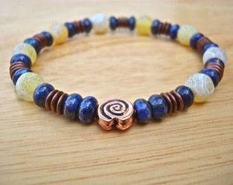 Men's Spiritual Bracelet with Semiprecious Lapis Lazuli, Yellow Crackle Agates, Copper - Greek Spiral of Life Friendship Bracelet
