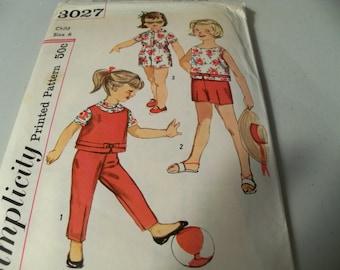 1960 Size 6 Simplicity 3027 Girls Trousers Pattern Mod 60s Girls Top Pattern Girls Blouse Pattern Girls Pants Sewing Pattern Supply Shorts u