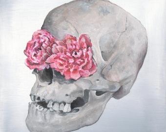 Floral Anatomy: Skull Print of Oil Painting