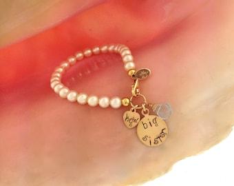 Big Sister 14k gold filled Initial bracelet with Gemstone/ gift for new sister/ big sister gift/ Pearls for big sister