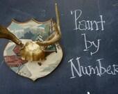 Antlers with Vintage Paint by Number Woodland Decor Deer Antlers Taxidermy Wedding Nursery