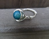 Blue Agate Sterling Silver-filled Wire-Wrapped Ring Size 4.5