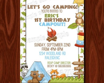 NEW - Camping Birthday Invitation PRINTABLE Digital File