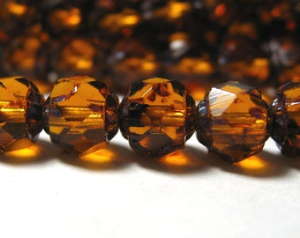 Czech Glass Renaissance Beads Amber with Picasso 6mm 25 pieces