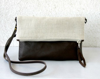 Foldover leather bottom every day bag Colorblock Purse leather and linen