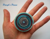 Lollipop - Swirly Blue Beige Red White Felt Brooch ooak
