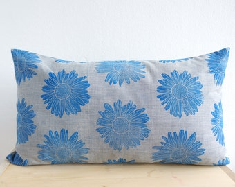 Pillow Blue Marguerite Organic Cotton Hand-Printed laKattun